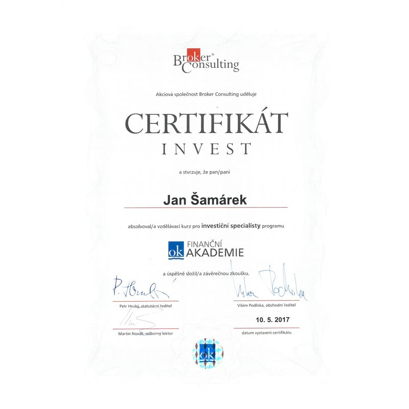 jan samarek investice broker certifikat