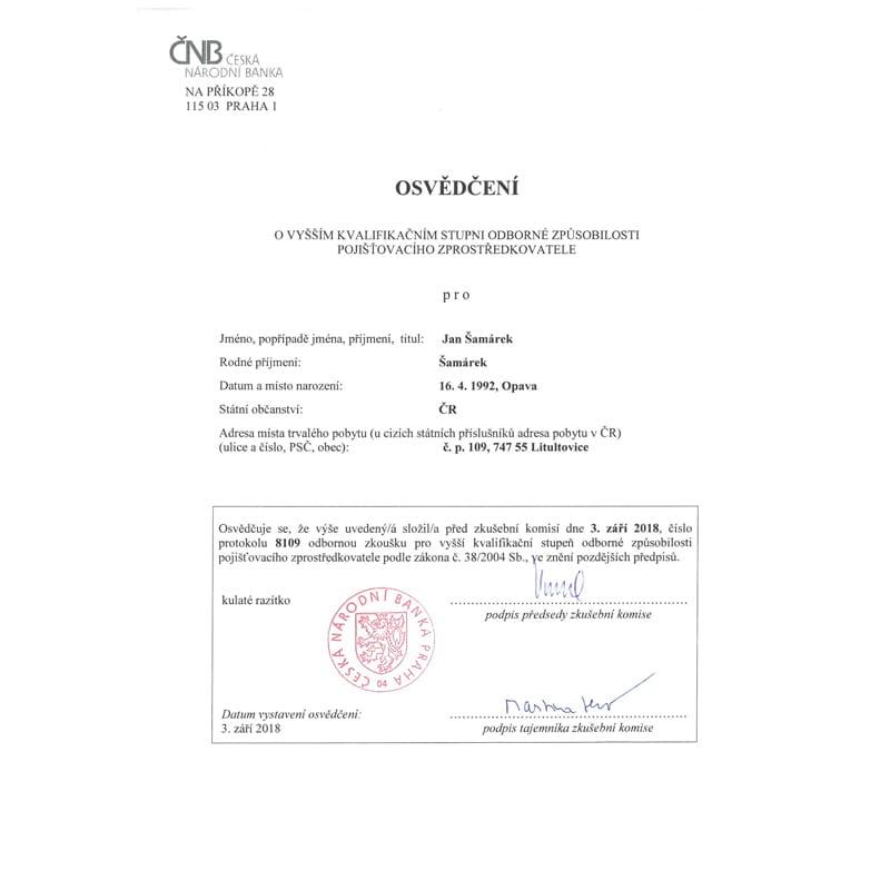 jan samarek odborna zpusobilost cnb certifikat