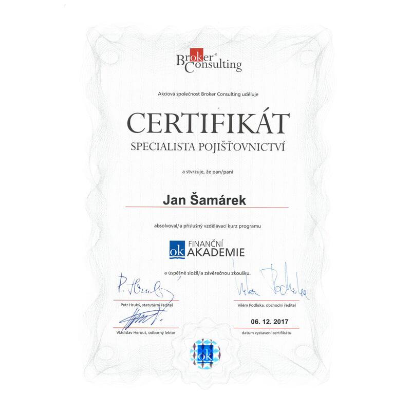 jan samarek pojisteni certifikat